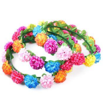 Women Girls Bright Colorful Plastic Flowers Headband Summer Beach Photo Props Adjustable Button Hairband Wedding Party Headpiece Bridal Headwear