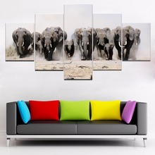 Elephant 5 Piece Canvas HD Print Animal Painting Wall Art For Living Room Modern Decorative