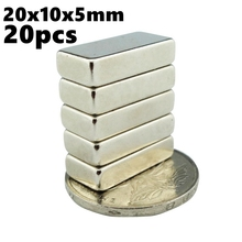 Real Super Powerful Neodymium Magnets 20mm X 10mm X 5mm N35 Rare Earth Ndfeb 20pcs 20x10x5 Iman Strong Magnetic Block Magnet