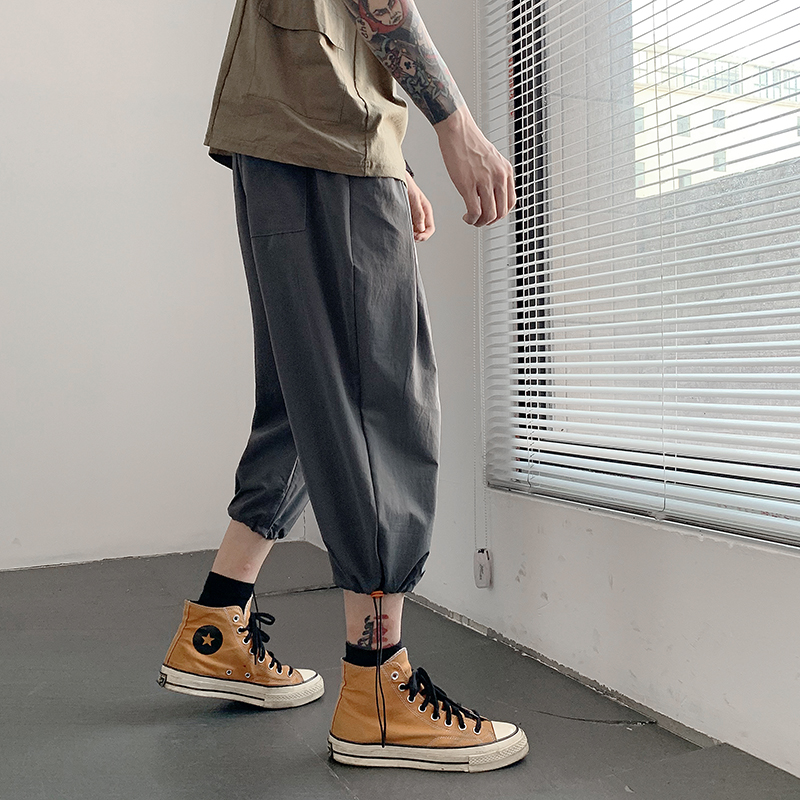 Solid Color Calf Length Pants Straight Men 39 s Pants Elastic Waist Large Size Black Gray Khaki Blue Calf Length Pants in Cross Pants from Men 39 s Clothing