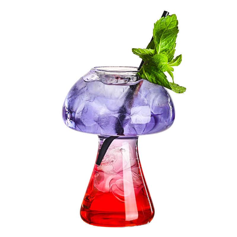 Darmowa wysyłka 4 sztuk kreatywny koktajl szklany kształt grzyba szkło bezbarwne wino kufel do piwa zestaw 4