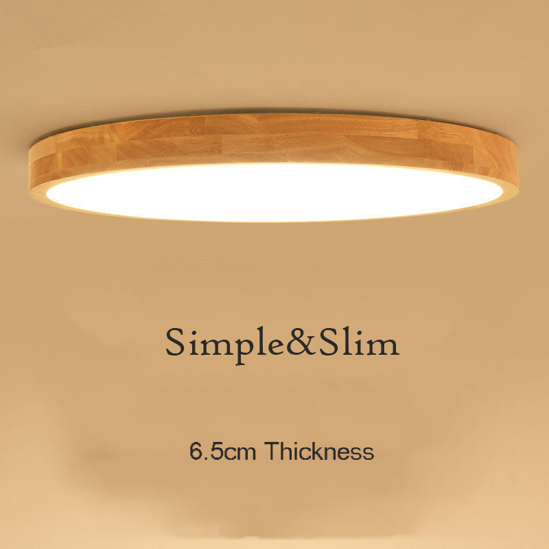 Modern Round Wood LED Ceiling Light Nordic Simple Wooden Ceiling Mounted Slim Ceiling Lamp for Living Room Bedroom Study Office simple style ceiling light wooden porch lamp square ceiling lamp modern single head decorative lamp for balcony corridor study