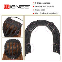 Wignee U Part 7 Clips In Long Straight Hair Synthetic Women Wig Natural Black False Hair Cosplay Classic Wig For Africa American