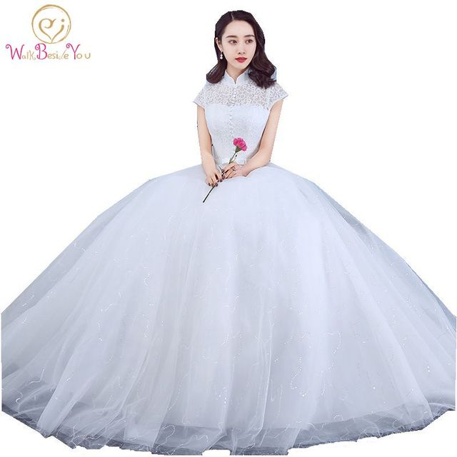 Sleeved Wedding Gown China Bridal Dresses High Collar Lace Dress With Bow 2017 Short Sleeves Ball Cheap Robe En Den