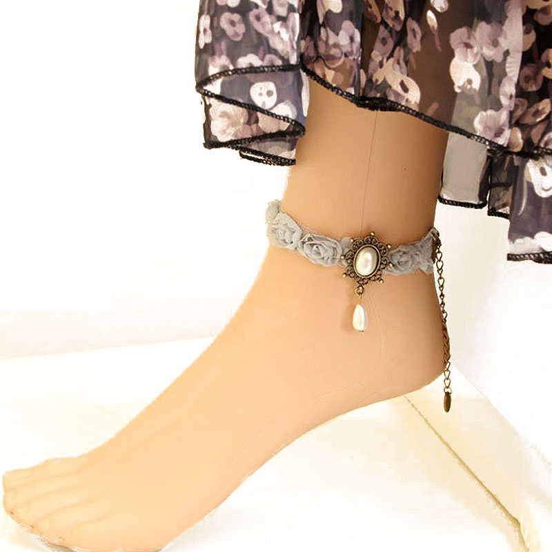 Womens Gothic Gray Chiffon Flower Lace Chiffon Faux Pearl Beads Drop Ankle Anklet Sandals Barefoot Bracelet Vintage Style Retro