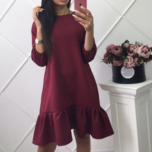 2018 Women Fall Loose Ruffles Dresses O-Neck Three Quarter Sleeve Casual Dress Fashion Mini Dresses Women Clothing