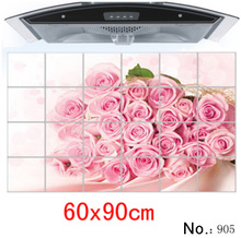 Waterproof aluminum foil wall stickers tiled kitchen bathroom wall decoration tulip flowers plant roses decorated 60*90cm