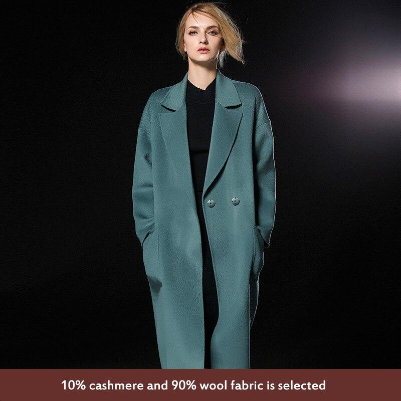 Nouvelle En Green De Fourrure Américain caramel Manteau Face Européen Longue Automne Cachemire Hiver Boutonnage Manteau 2017 Dame Pea Color Et Style Style Double CqXRIw8x