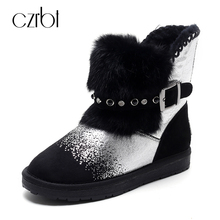 CZRBT 2018 Fashion Women Boots Warm Wool Snow Boots Crystal Buckle Flat Heel Ankle Boots Big Size Round Toe Winter Woman Shoes