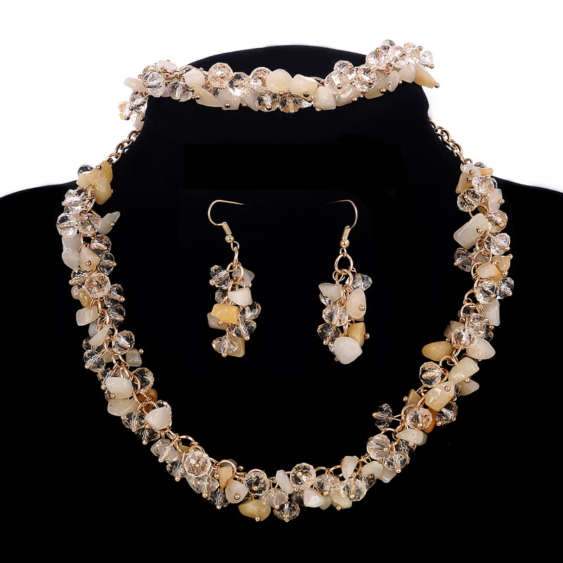 Hesiod 8colors Bib Chunky Choker Collar Necklace Earrings Bracelet Set Natural Stone Wedding Jewelry Sets Cz Beads In From