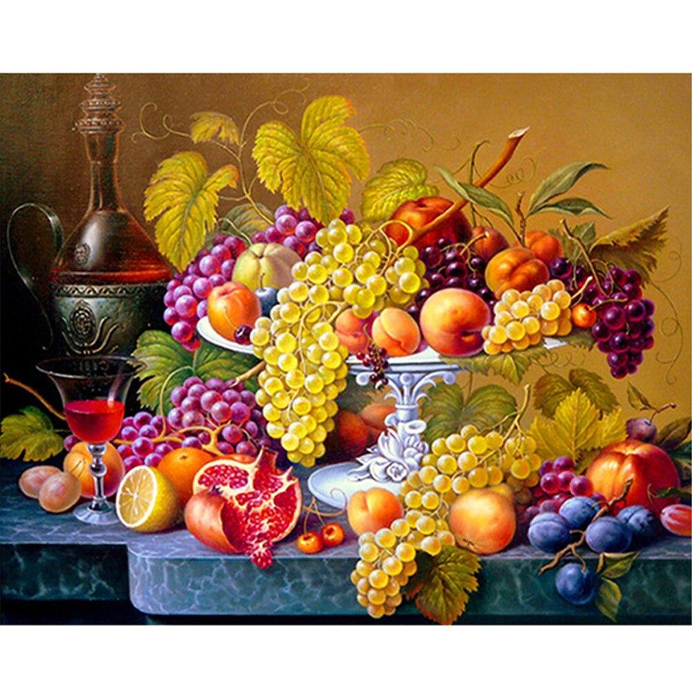 Алмазная вышивка с фруктами, кухонная настенная домашняя Алмазная вышивка для декора, полная квадратная/круглая дрель, Хрустальная мозаика, картина, горный хрусталь
