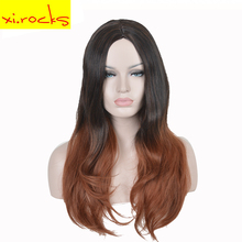 3123 Xi. Rocks Long Auburn Wig Natural Hair Gradient Synthetic Curly Wigs For Black White Women Wave Temperament