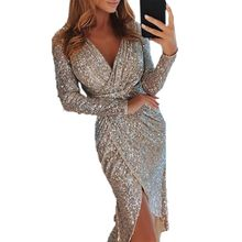 Fashion Women Long Sleeve Bodycon Sexy Irregular Hem Sequins Party Evening Mini Club Dress Deep V-neck Short Dresses