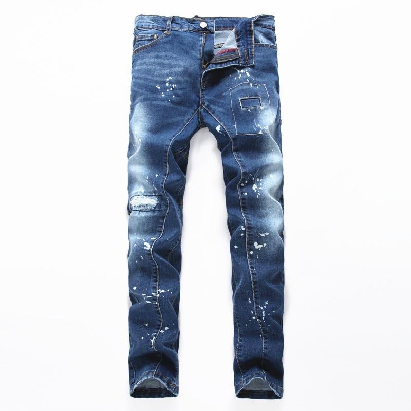 NEW men clothing new style hole jean patch beggars slim men jeans pants mens denim ripped straight trousers ants men 2017 fashion patch jeans men slim straight denim jeans ripped trousers new famous brand biker jeans logo mens zipper jeans 604