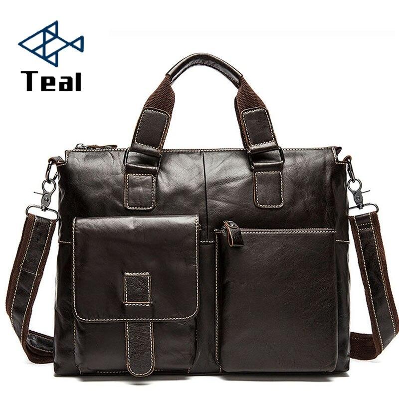 Męska teczki prawdziwej skóry męska skórzane torby Crossbody torba na Laptop biznes torebki torby na ramię duża pojemność w Teczki od Bagaże i torby na  Grupa 1
