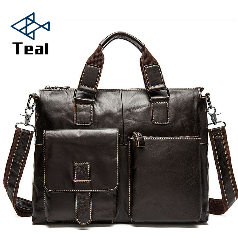 Men's Briefcases Genuine Leather Men's Leather Bags Crossbody Bag Laptop   Bussiness Handbags Shoulder Bags Large Capacity