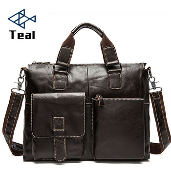 Men's Briefcases Genuine Leather men's leather bags Crossbody Bag Laptop   bussiness Handbags Shoulder Bags Large capacity