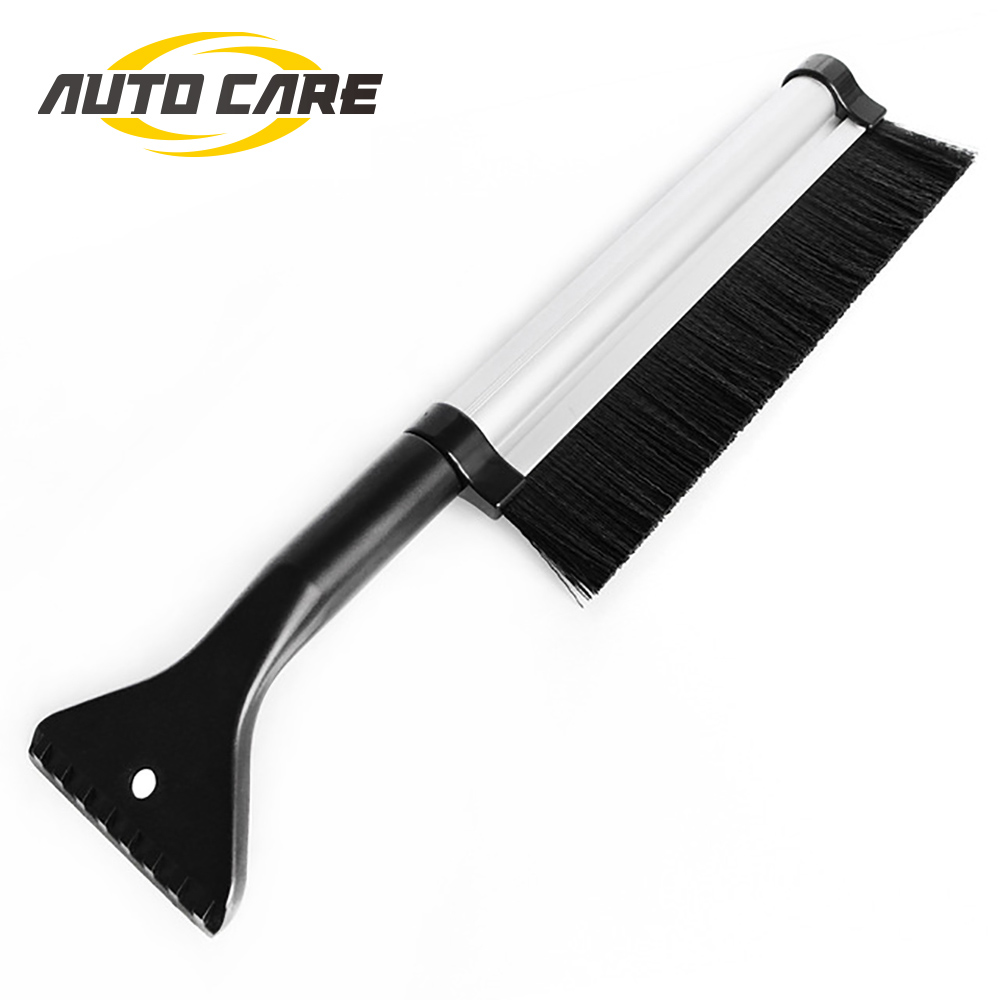 Auto Care Retractable Extendable Telescoping Snow Brush Ice Scraper For Winter Car Vehicle Windshield With Stiff Bristle Brush