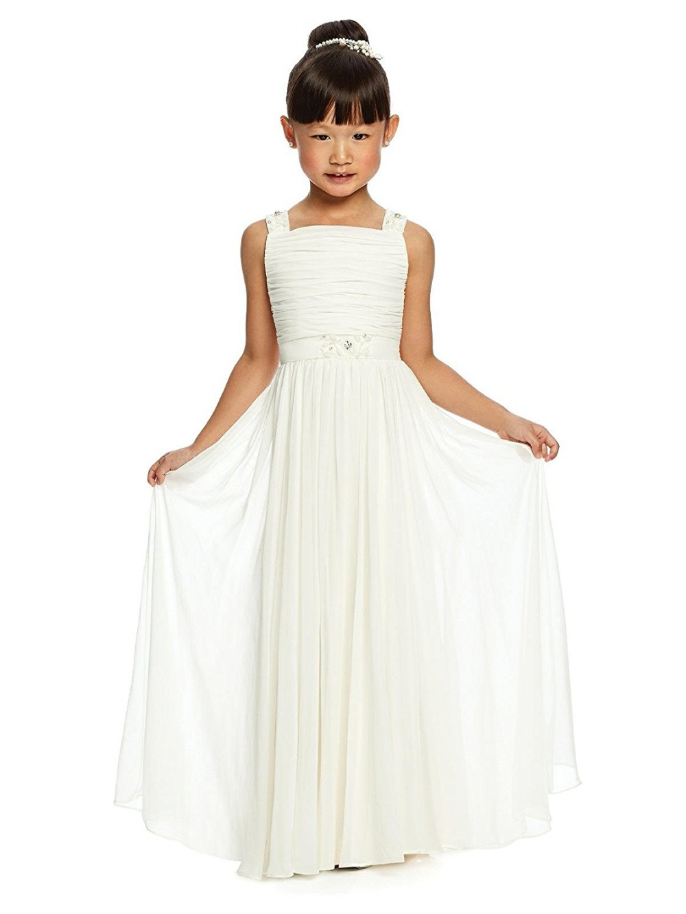 New Arrival Beach Chiffon Long Junior Bridesmaid Dresses Pleated First Communion Gowns for Wedding Flower Girl