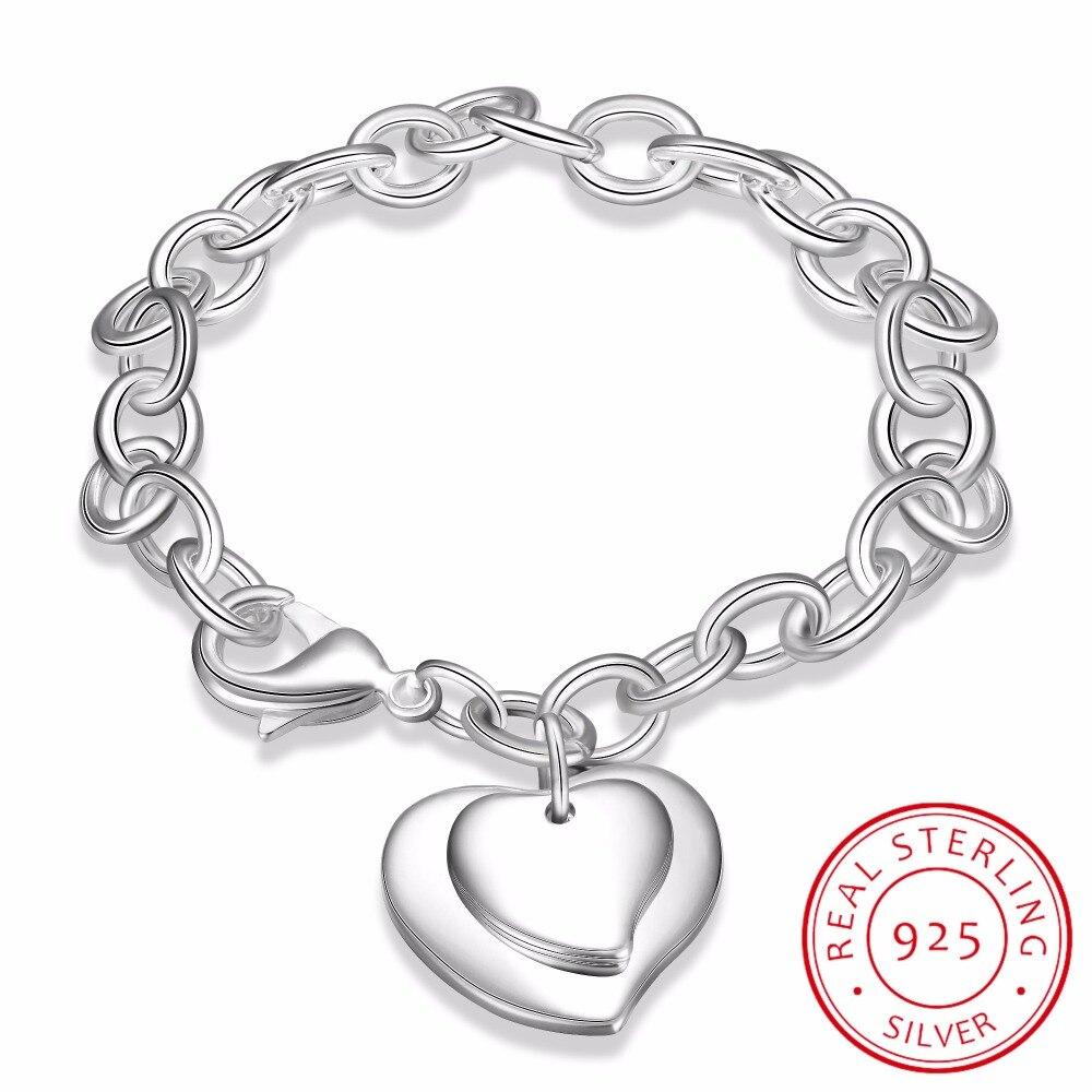 LEKANI Luxury 925 Sterling Silver Bracelets Heart Charm Bracelet High Quality Men Women Fine Jewelry Carter Bracelet