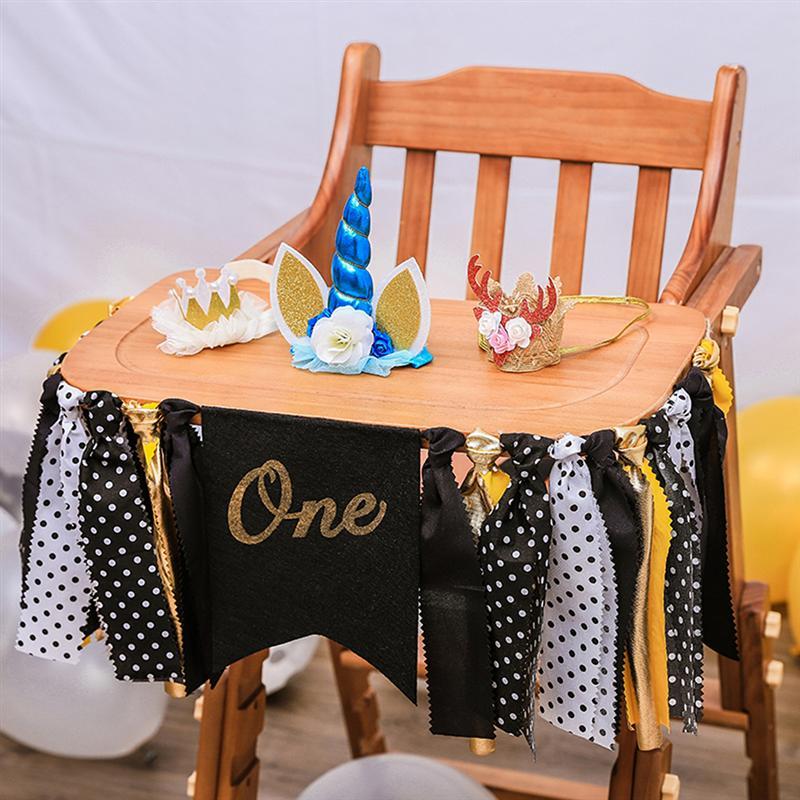 1 Pc Gelb Und Schwarz Hängen Banner Bunting 1st Party Girlande Ein Geburtstag Hochstuhl Banner Für Baby Dusche Foto Prop