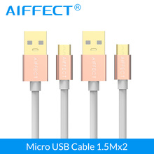 AIFFECT High Speed Aluminum Micro B Cable USB Micro-USB to Standard Cord Phone Data 5FT X 2 Pieces