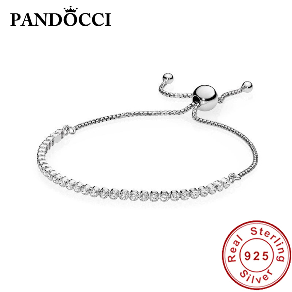PANDOCCI 100% 925 Sterling Silver 1:1 Original Sparkling Strand Bracelet 590524CZ Modern Exquisite Lucky Women Jewelry GiftsPANDOCCI 100% 925 Sterling Silver 1:1 Original Sparkling Strand Bracelet 590524CZ Modern Exquisite Lucky Women Jewelry Gifts