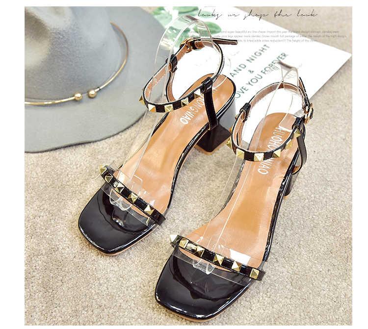 9546fe62261 ... Women High Heels Pumps Rivets Transparent Heeled Sandals Peepp Toe  Buckle Strap Block Heel Slingback Shallow
