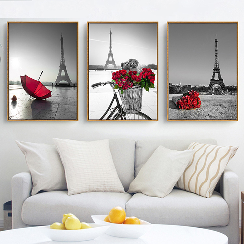ASAPFOR <font><b>Paris</b></font> Eiffel Tower Nordic Print Wall Pictures for Living Room Decor Red Rose Canvas Paintings for Girls Bedroom Posters image