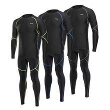 Осенне зимний мужской набор для бега термальный флисовый компрессионный