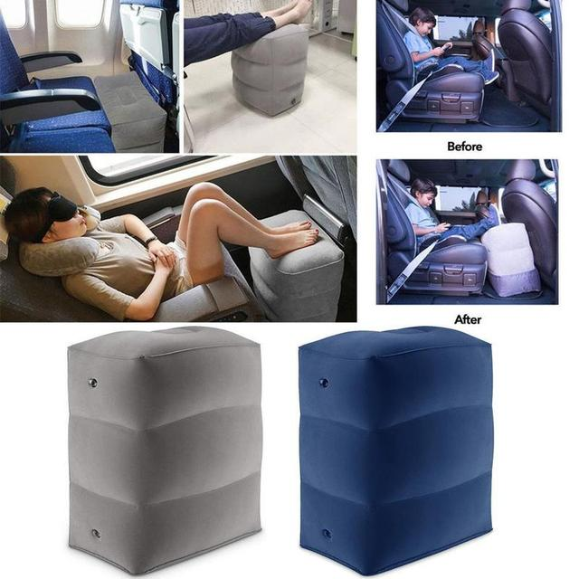 Almohada inflable de 3 capas para reposapiés de viaje, reposapiés para coche, cojín ecológico para coche y avión