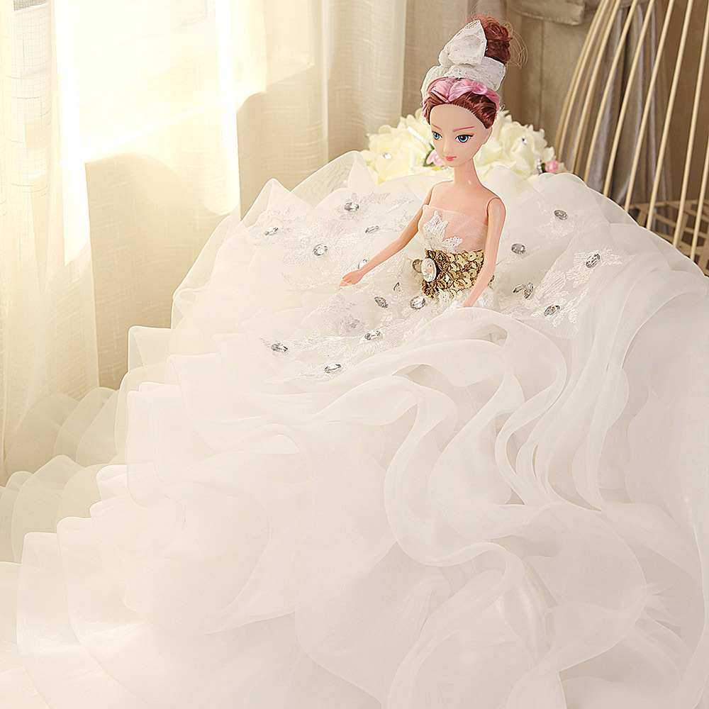 Doll + Wedding Dress /100% Handmade White Lace Crystal Bride Wedding Doll Big Evening Gown Collect For Kurhn Barbie Doll Gift doll wedding dress 100% handmade warm red luxury crystal bride wedding doll big trailing evening gown for barbie doll