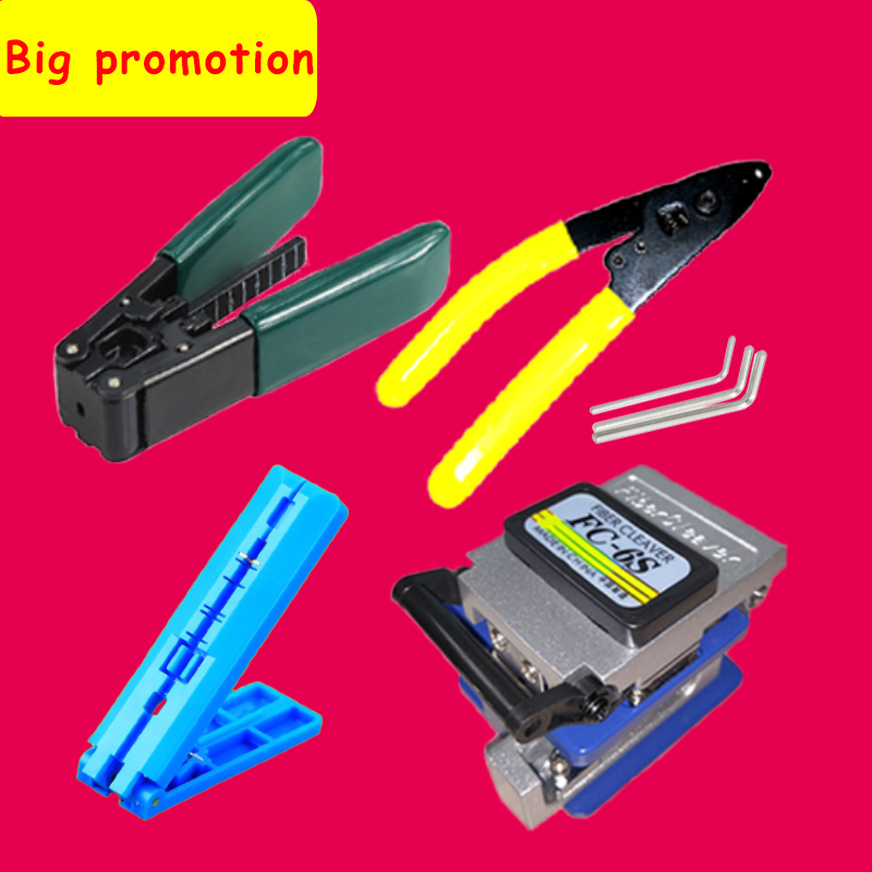 6Pcs/set FTTH fiber optic tool kit Fiber Cleaver FC 6S Miller Clamp CFS 2 Wire Strippter pilers Fixed length rail Stripping tool