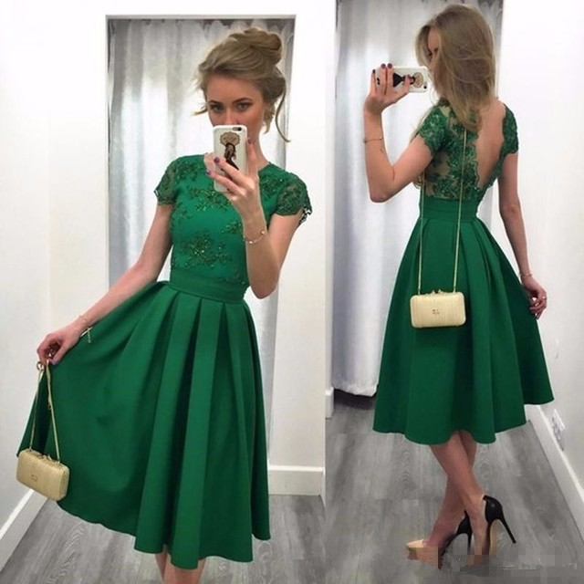 Sexy Green Satin Cocktail Dresses 2017 Appliques Sequined Pleat Arabic robe  de cocktail Summer Girl Party Dresses cb3bda9bc