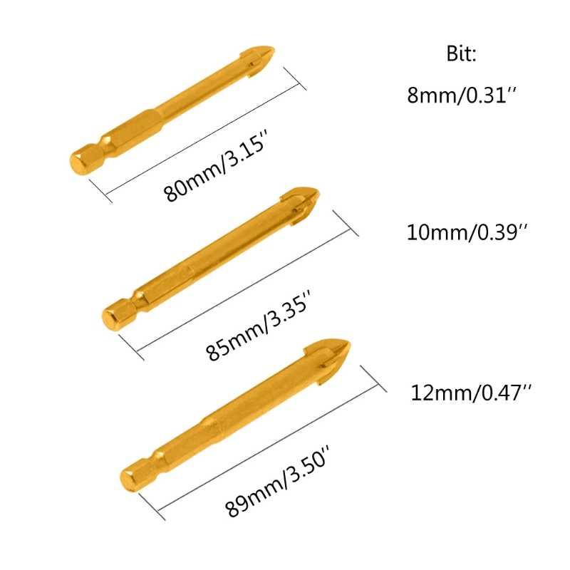 Hot Koop 4/5/6/8/10/12mm Tungsten Carbide Glazen Boor Titanium gecoat 1/4 Hex Shank