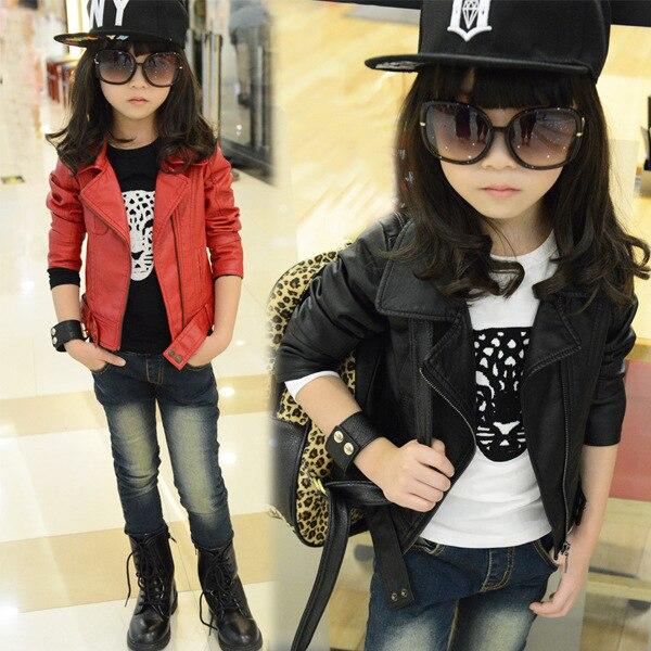 Autumn big boy new kids children girl coat in Korean PU jacket
