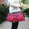 Вышитые сумки национальная тенденция ручной двусторонний вышивка плеча сумку старинные женщин небольшие сумки сцепления