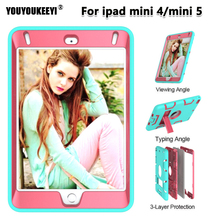 For ipad mini 4/mini 5 Case Cover Funda 7.9inch Tablet Kids Safe Shockproof Silicone Hard Stand Hand Shell For ipad mini 5 new for ipad mini 4 cases flowers kids baby safe silicone cover shell armor shockproof heavy duty hard tablet case stylus pen