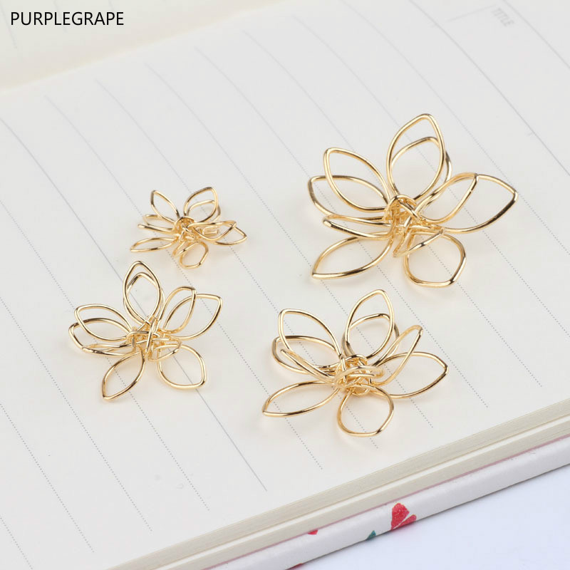 DIY Jewelry Accessories Copper Plated 18k Gold Color Hollow Three-dimensional Double Flower Earrings Pendant Material 6 Pieces