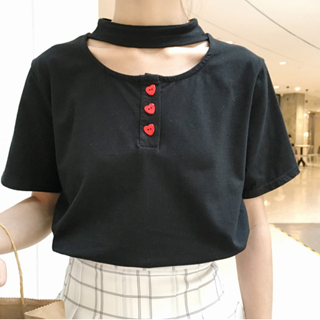 Новые летние женщины любовь персик форме сердца декоративные пуговицы холтер-образным вырезом с коротким рукавом Футболки для девочек