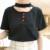 As novas mulheres de verão amor pêssego coração-em forma de botões decorativos halter-neck T-shirt de manga curta para as meninas