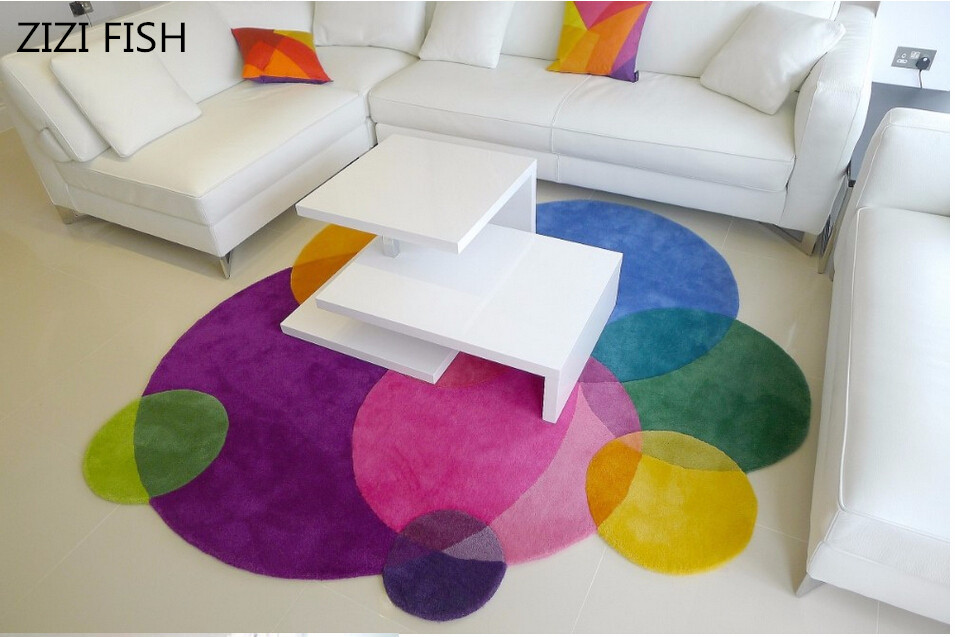 Gradient Rainbow Modern Handmade carpets Living room Bedroom Fashion creative Coffee table sofa Individuality Trend Carpet