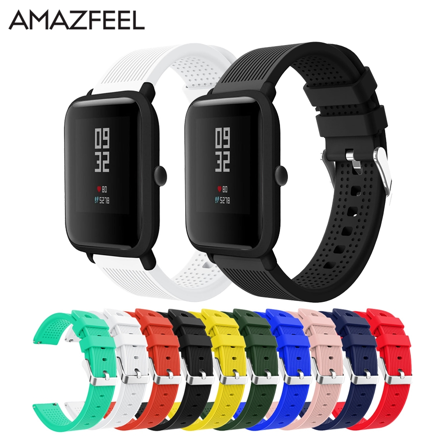 Silicone Smart Accessories Wristband Straps For Xiaomi Huami Amazfit Bip Youth Double Colorful Replacement Smart Watchband 20mm Sale Price Watchbands