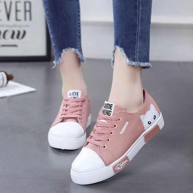 907653d7439 Women Flat Cartoon Canvas Shoes 2018 New Summer White Lace Up Student Board  Shoes Ladies Casual Shoes Female Sneakers LDW907
