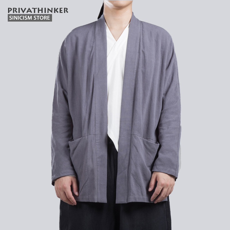 Sinicism Store Cotton Linen Long Sleeve Shirts Men Kimono Chinese Traditional Open Stitch Shirts Male Shirt Harajuku