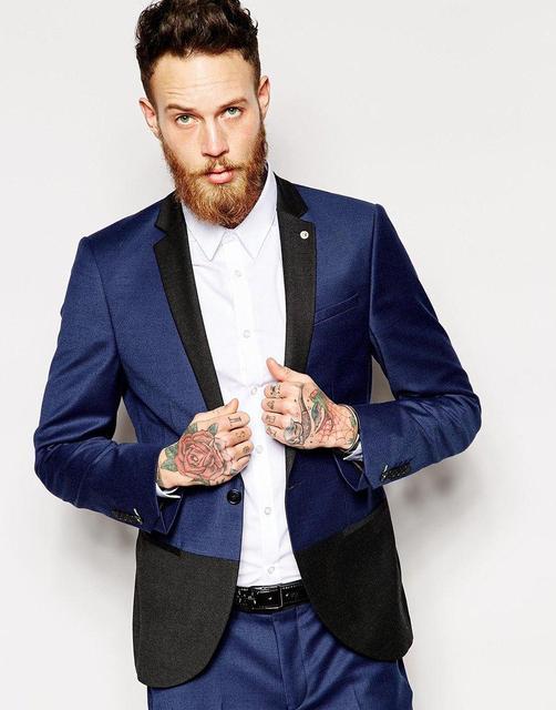 26f180368f63 Темно-синий тонкий шить двухцветный костюм черный утро свадьбы мужской  костюм на заказ жениха костюм