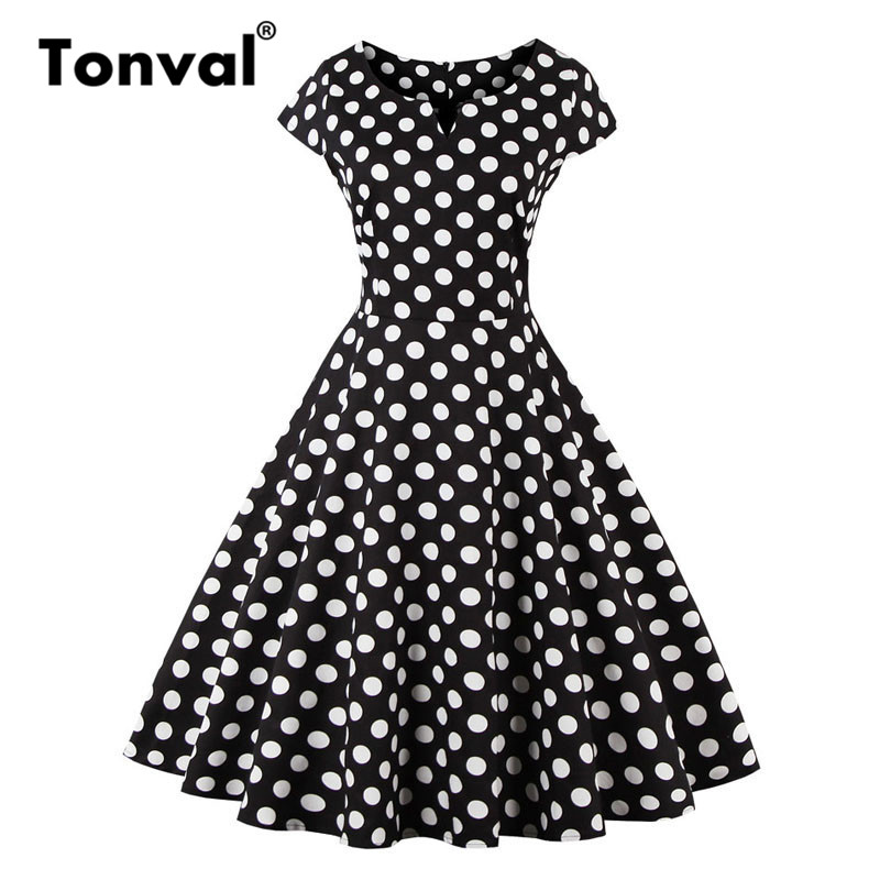 d97dfb67589 Tonval Women Flamingo Floral Print Vintage Dress Casual Cap Sleeve Summer  Dresses Plus Size Rockabilly Retro Dress-in Dresses from Women s Clothing  on ...