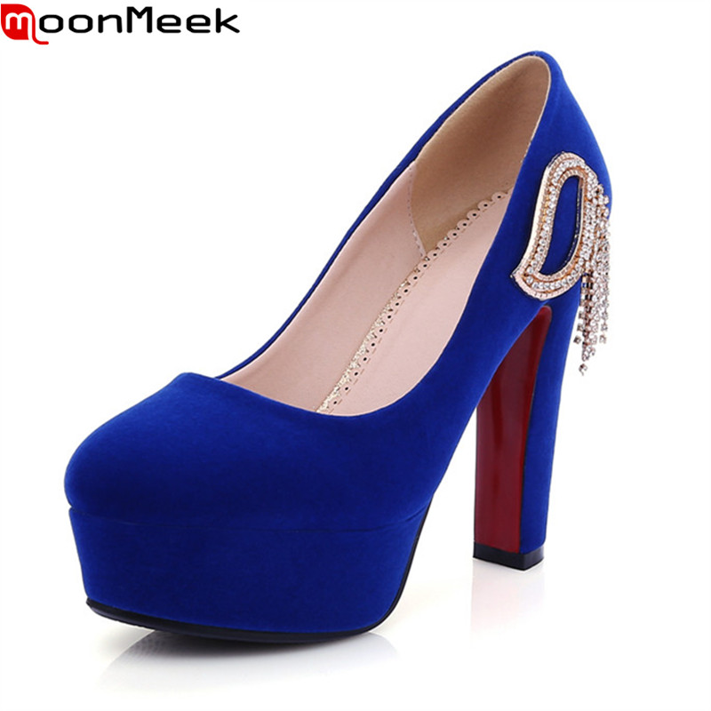 MoonMeek Plus size 34-41 women shoes high heel 12cm thick high heels party wedding shoes platform round toe pumps ladies shoes luxury brand crystal patent leather sandals women high heels thick heel women shoes with heels wedding shoes ladies silver pumps