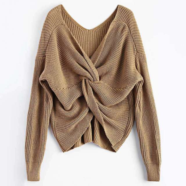Casual V Neck Twisted Back Sweater 4