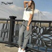 ToLugui женские спортивные костюмы весна короткий рукав хлопковый пуловер Толстовка комплект из двух предметов модный строченный спортивный ...